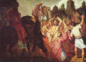 Rembrandt 1625. Herjauksesta syytetyn Pyhän Stefanuksen kivittäminen
